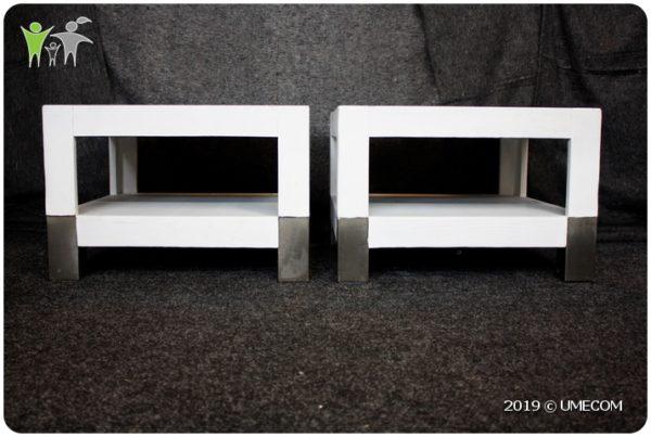 Witte Salontafel Met Rvs Poten.Set Van 2x Salontafel Metalen Poten Massief Hout Wit Umecom B V